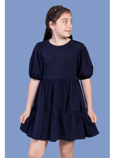 Toontoy Kids Toontoy Kız Çocuk Arkası Bağlama Detaylı Balon Kol Elbise Lacivert